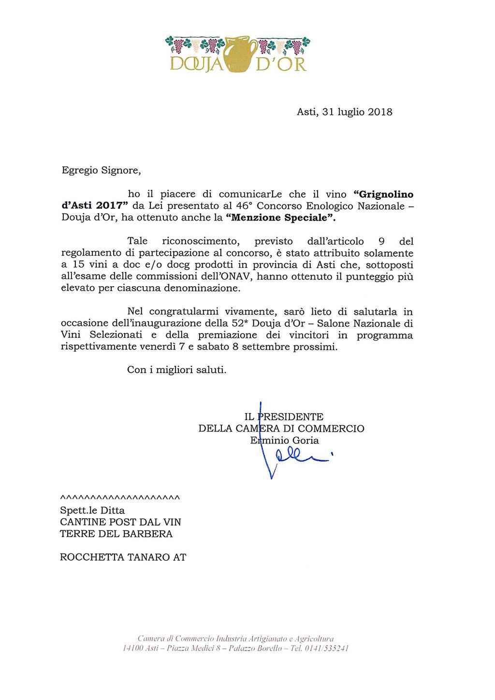 menzione speciale Douja d'Or - Grignolino d'Asti Docg 2017