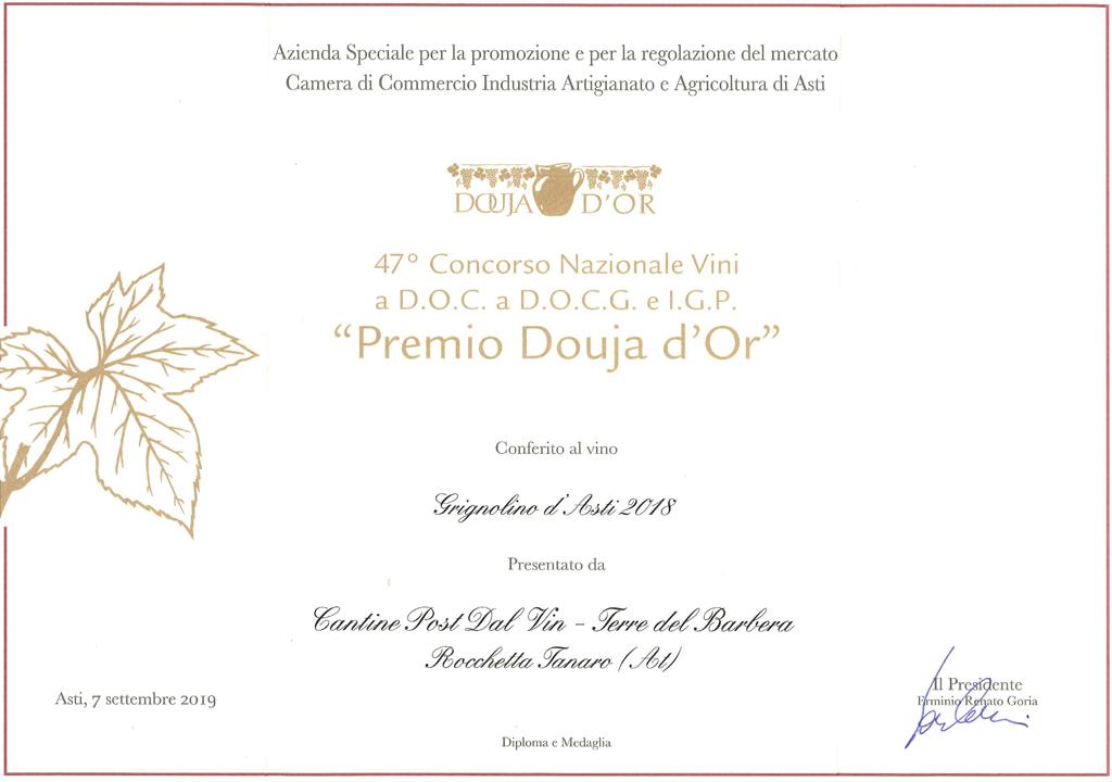 Premio 47° Douja d'Or - Grignolino d'Asti 2018